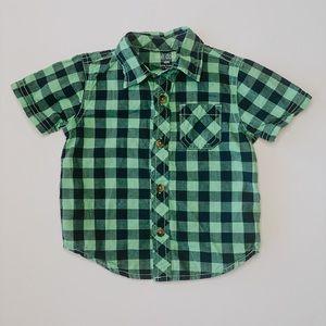 Okie Dokie // green & navy plaid button up shirt